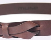 Equestrian Leather Belt by Muse 1.5 inch  Nickel-Free/ Vegetable tanned leather buckle-less belt