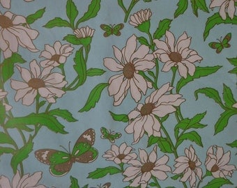 Vintage Gift Wrap 1970s All Occasion Wrapping Paper-2 Sheets NIP-Butterflies & Daisys on Blue