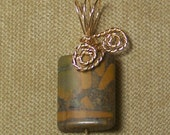 Natural Brown and Tan JASPER Gemstone Gold Wire Wrap Necklace Pendant with FREE gold chain SALE