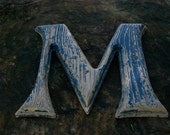 Funky OLD Letter  M   made to look a piece of Weathered Wood       Heavy Duty