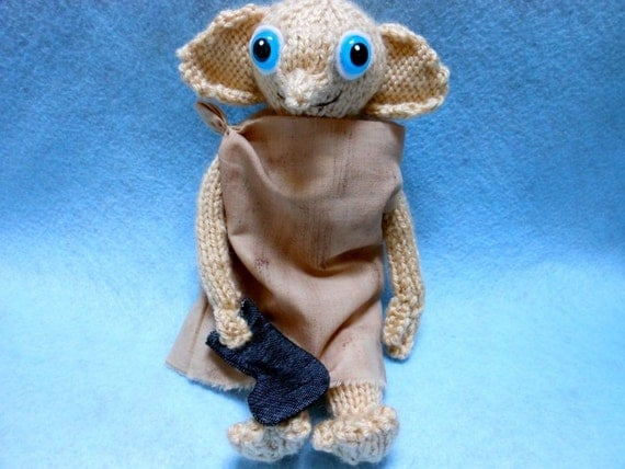 Dobby the House Elf with Sock, Hand Knitted Doll, Fantasy, Harry Potter Inspired, Magical, Elf