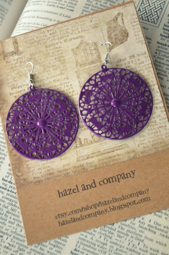 Large Purple Metal Filigree Boho Earrings Dangle Dangly Lacy Lace Bohemian Hippie Chic