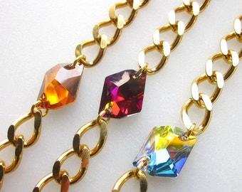 Swarovski crystal gold chunky chain friendship bracelet cosmic crystal bracelet stack jewelry