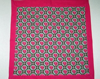 Baby Doll Blanket Gothic Skulls  For Dolls 13 14 15 16 18 inch Dolls Pinks and Greens