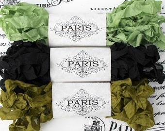 Seam Binding, Ribbon, Scrunched ribbon,  Shabby Crinkled Rayon Ribbon, Black, Green, Olive Scrapbooking,Vintage Cottage,  Villa Domaine