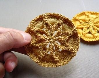 Crochet Ornament -- Gold Star Flower Medallion