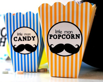 Instant Download Popcorn and Candy Little Mister Moustache Mini Printable  Boxes