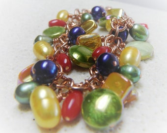 Mardi Gras Bracelet - Colorful Mother of Pearl, Pearl, Coral Beaded Copper Chain - Handmade