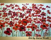 OIL Original Flowers Modern Impressionist Painting Red DAISY Flowers Wall Decor Fine Art by Luiza Vizoli Large Canvas