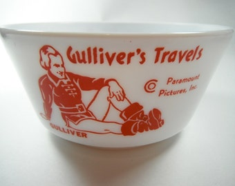 Vintage 1930s Gullivers Travels Milk Glass Bowl Hazel Atlas Paramount Pictures Red