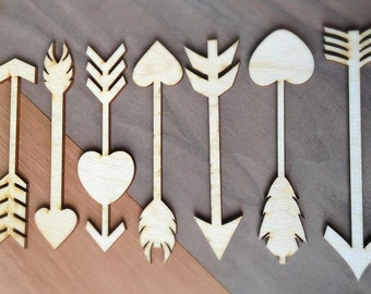 14 Pieces- Craft Wood Shapes Arrows and Hearts