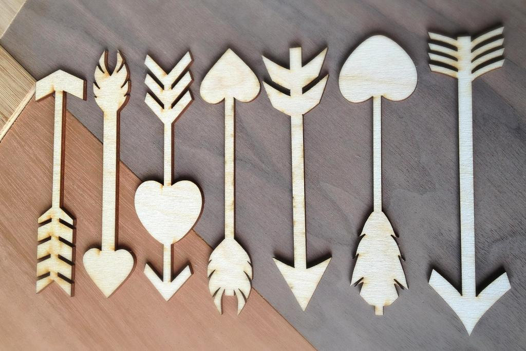 Pieces craft wood shapes arrows and hearts
