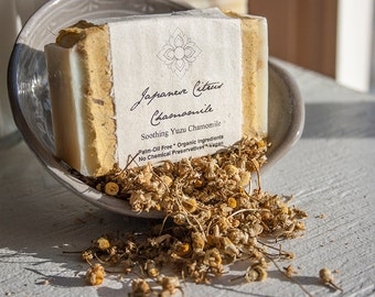 Japanese Citrus Oatmeal Chamomile - Palm Oil Free, Vegan, Made with Certified Organic Oils, Soothing Organic Chamomile