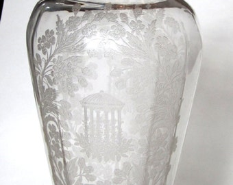 1930's Gazebo and Garden Etched Crystal Glass Vase by Paden City