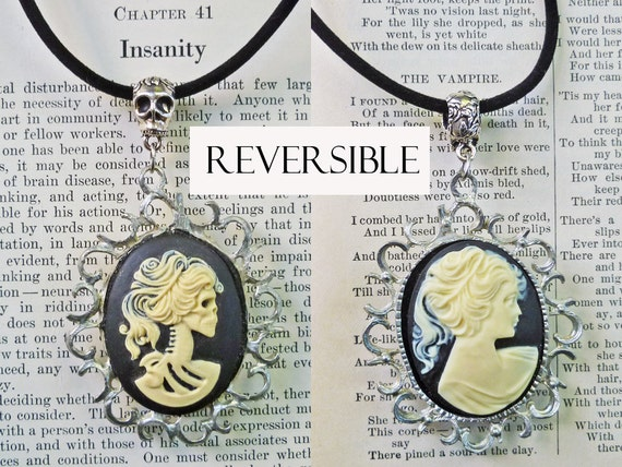 Gothic Black Cameo Necklace with Reversible Pendant