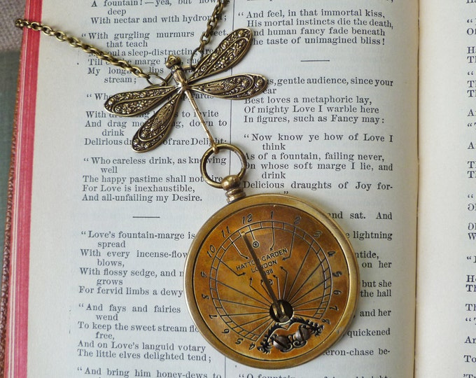 Featured listing image: Dragonfly and Sundial Necklace 1898 Antique Reproduction