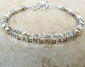 Sterling Silver and Gold Mother's Bracelet Name Bracelet Personalized Mother's Bracelet Under 75