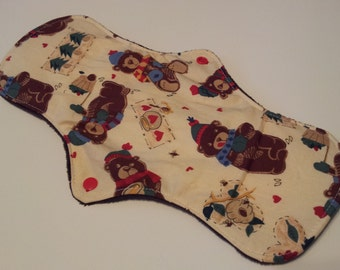 One 12 Inch Minky Topped Honey Bears Winged Cloth Menstrual Pad - PUL