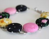 Bracelet: Black Pink Yellow Buttons