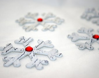 CLEARANCE - French Stamped Snowflakes - Chipboard Snowflake Embellishment - Scrapbooking Card Making Supply - Home Decor Christmas Ornament