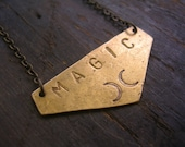 Magic Stamped Brass Necklace