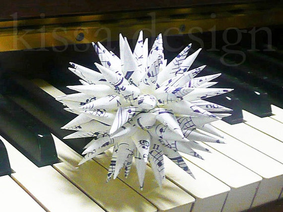 Sheet Music Christmas Ornament Upcycled Classical Music Paper Polish Star Contemporary Musician Gift Holiday Decor - Sheet Music, 3 inch