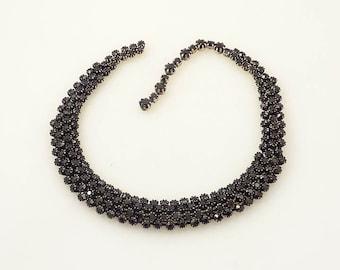 SALE --- Vintage Vendome Black Rhinestone Necklace for Repair of Craft