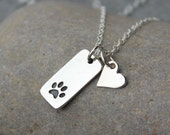 Pet Love Necklace -Tiny dog or cat paw print and heart charms- sterling silver- memory charm - veterinarian gift idea -  free shipping USA