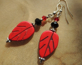 Red Leaf Earrings, Carved Magnesite Earrings, Dangle Earrings, Red and Black, Handcrafted Jewelry, Leaf Jewelry, Native Style, Biker Jewelry