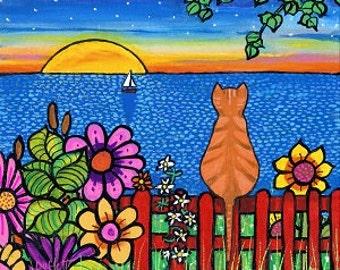 Modern Jigsaw Puzzle 1000 pieces By Shelagh Duffett (Alice in Paris) 'Sunset Garden Tabby'