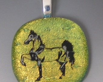 Golden Horse pendant dichroic fused glass jewelry w/ cord