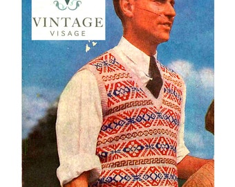 INStANT DOWNLOAD- Vintage Visage knitting pattern- mens fair isle pullover jumper pdf email delivery