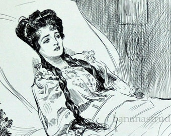 Gibson Girl - Lovesick - Humorous 1901 Antique Charles Dana Gibson Print