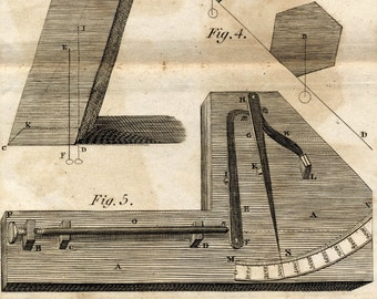 Rare Antique Print on Pyrometers. Copper Engraving Published in 1806 . Plate I