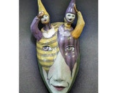 One Way or Another - Mask Sculpture, Ceramic Wall Art, Original Mask Art
