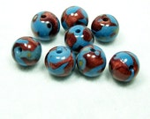 Sale - Handmade Round Polymer Clay Beads in Blue and Copper Mokume Gane