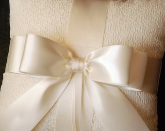 Ring Bearer Pillow - Light Ivory Ring Bearer Pillow with Lace Overlay and Ivory Ribbon Bow - Katherine
