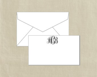Personalized Enclosure Card / Gift Tags with Mini-Envelopes - Monogram - Set of 20