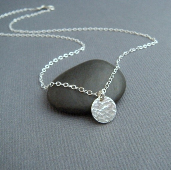 """simple silver circle necklace - sterling silver pendant. modern everyday jewelry. dainty. delicate. tiny. hammered disc. gift for her. 3/8"""""""