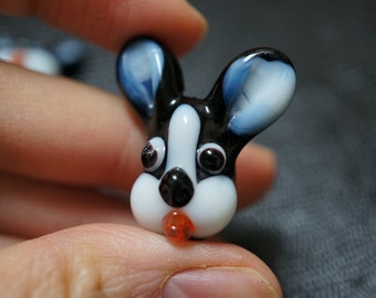 Handmade Cartoon Bunny Rabbit Head Lampwork Glass Focal Bead - 1 piece