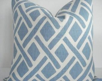 KRAVET-  Both Sides-- Linen-- Treads -River Colorway - Decorative Designer Pillow -Light blue/ Ivory -Geometric