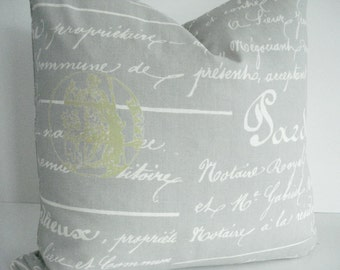 BOTH SIDES-French Script  Grey and ivory  -Throws /Lumbars- -Decorative Designer Pillows,Grey / Ivory Toss  / Accent  Pillow