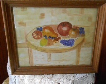 Framed 70s pastel fruit drawing on canvas