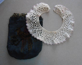 Vintage beaded crocheted collor and unfinished purse