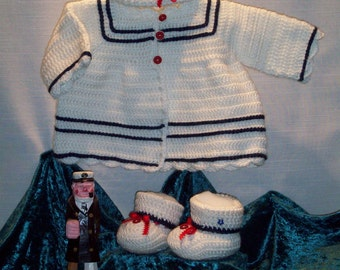 Crocheted Infant Sailor Suit Sweater, hat and bootie Layette