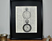 FRAMED 11x14 - Vintage Book Page Dictionary Print - Pocketwatch Pair
