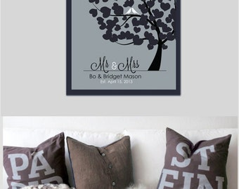 Christmas gifts couples gift Family Tree housewarming Lovebirds Custom Love print Print Mr & Mrs Anniversary Gift Personalized Gift For him
