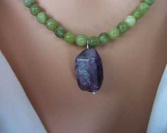 Natural Green Serpentine Stone Necklace With Purple Amethyst NSN14N401 - Dune Glass with Free Shipping In the USA