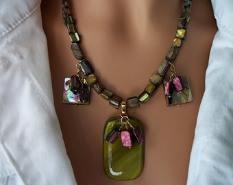 One of A Kind Necklace with Dyed Mother of Pearl and Fused Art Glass NSN14N1720 - Free Shipping In the USA