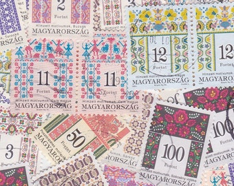 16 x Hungarian Folk Art Number Postage Stamps Pretty Floral Designs for Altered Arts Mixed Media Collage